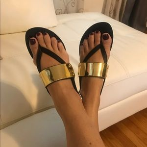 Steve Madden black and gold sandals NEW